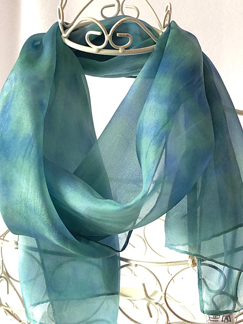Long lightweight floaty green blue scarf