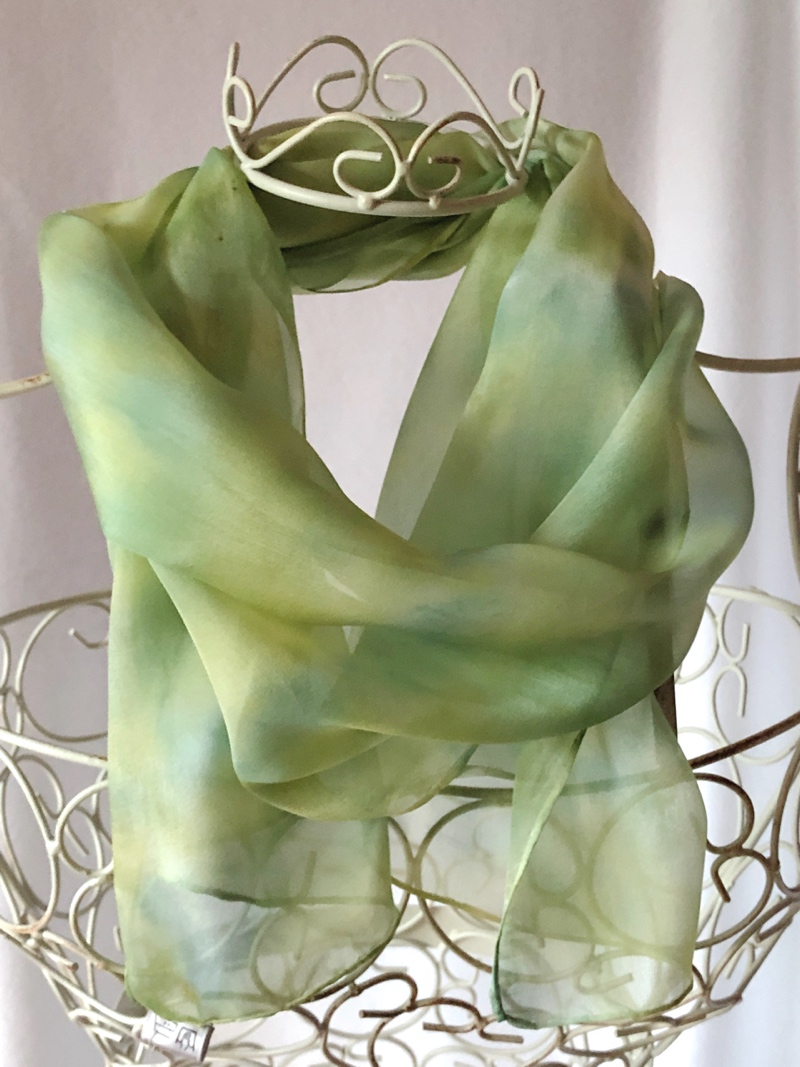 Long lime green yellow thin scarf