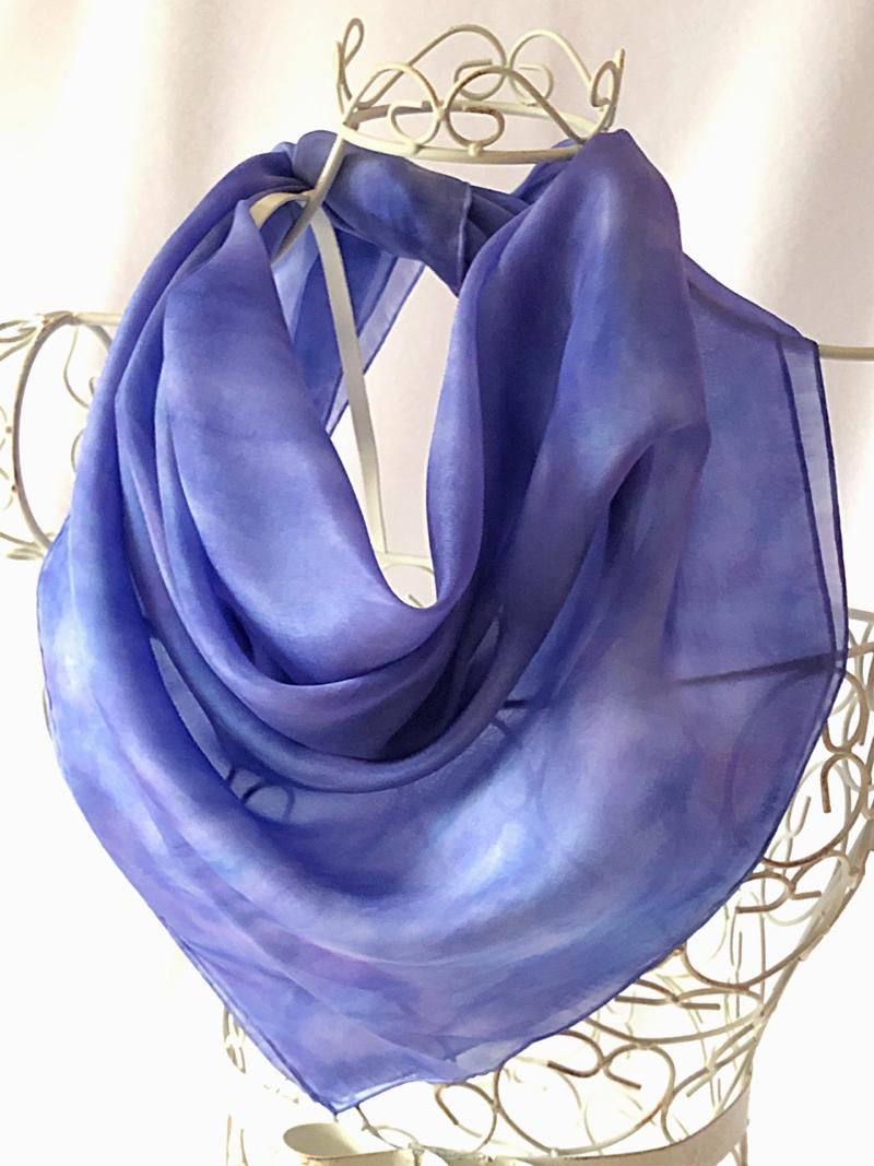 big blue silk square scarf