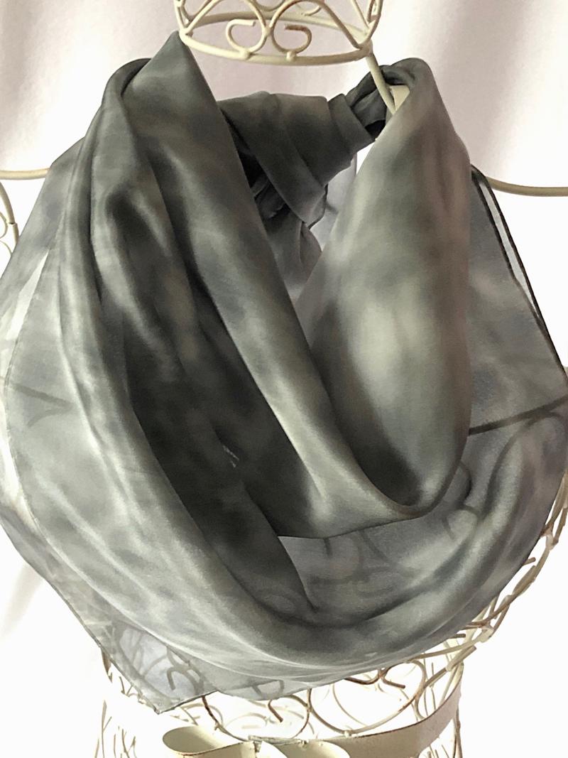 large grey silk square scarf