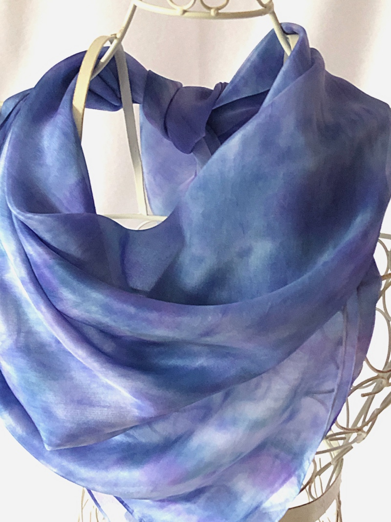 large square blue silk scarf