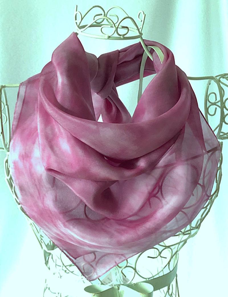 large square pink silk scarf