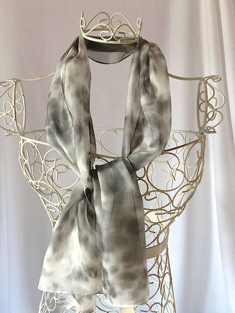 long grey black white silk scarf