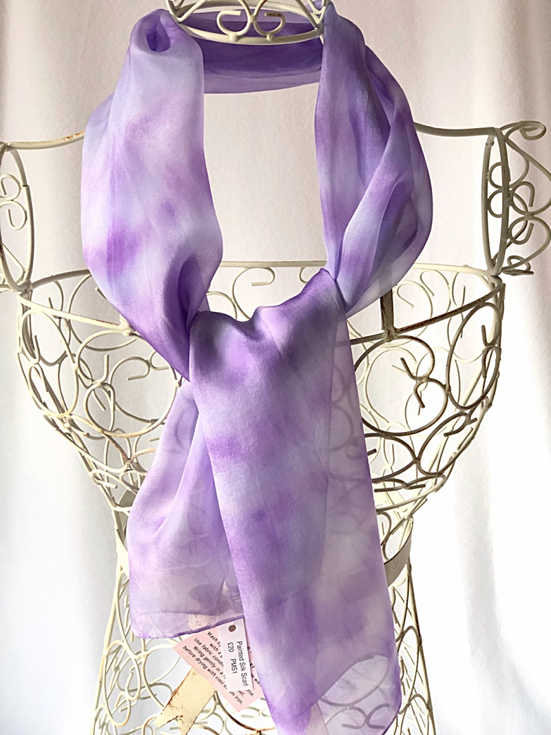 long blue purple silk scarf