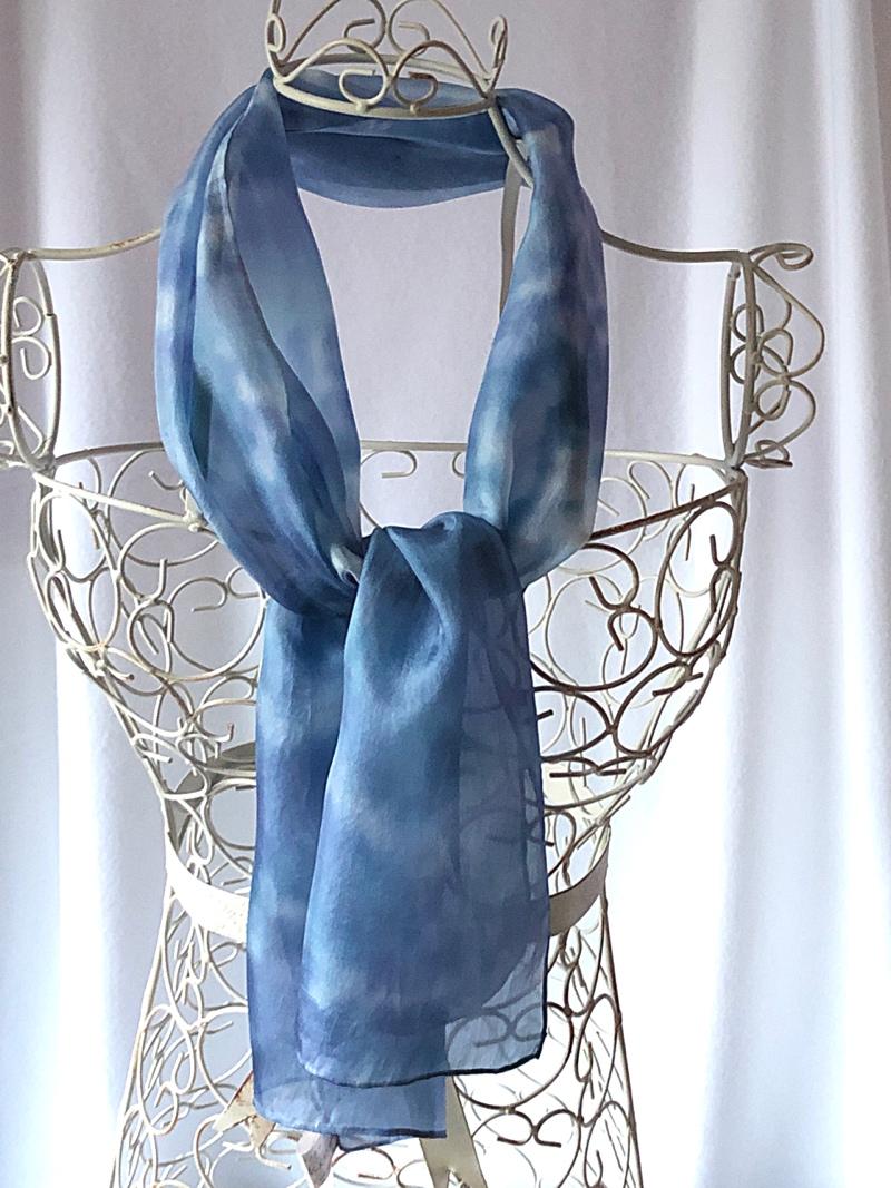 long blue silk scarf