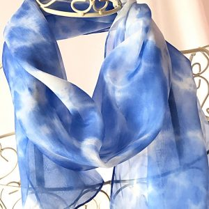 blue long silk scarf
