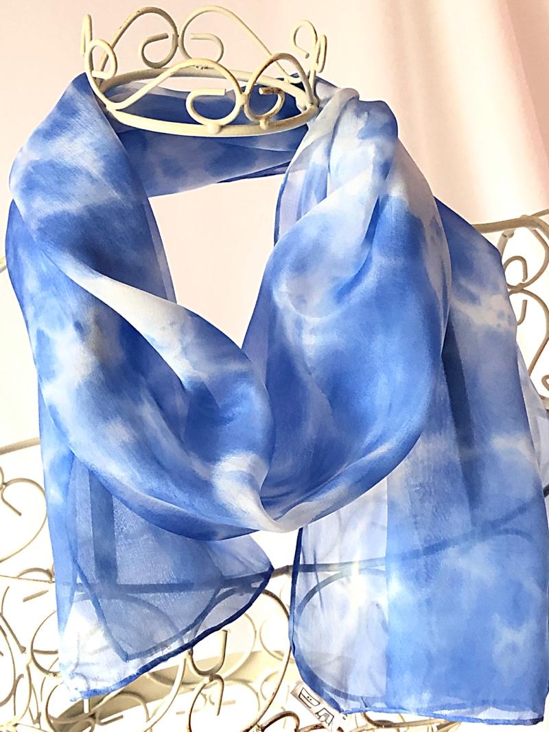 long blue sky silk scarf