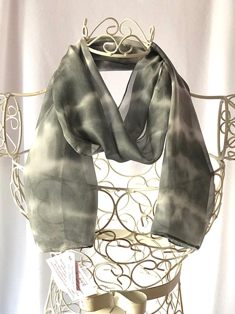 long floaty black white silk scarf