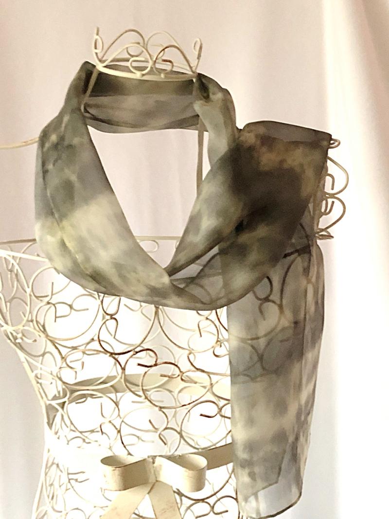 long grey greenish neck scarf