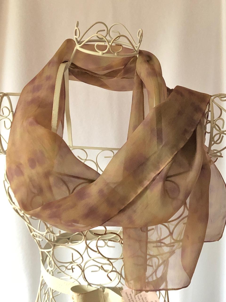 long lightweight brown silk scarf