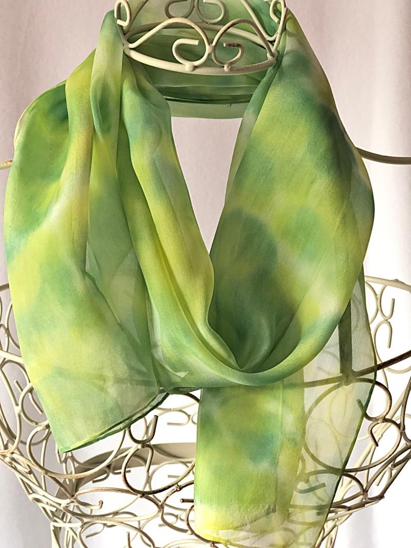 long lime green silk scarf
