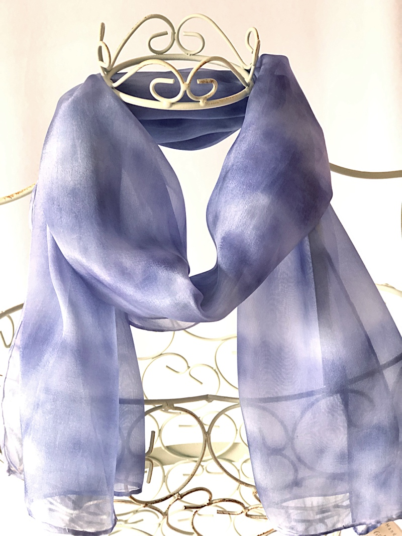 long pale navy blue scarf