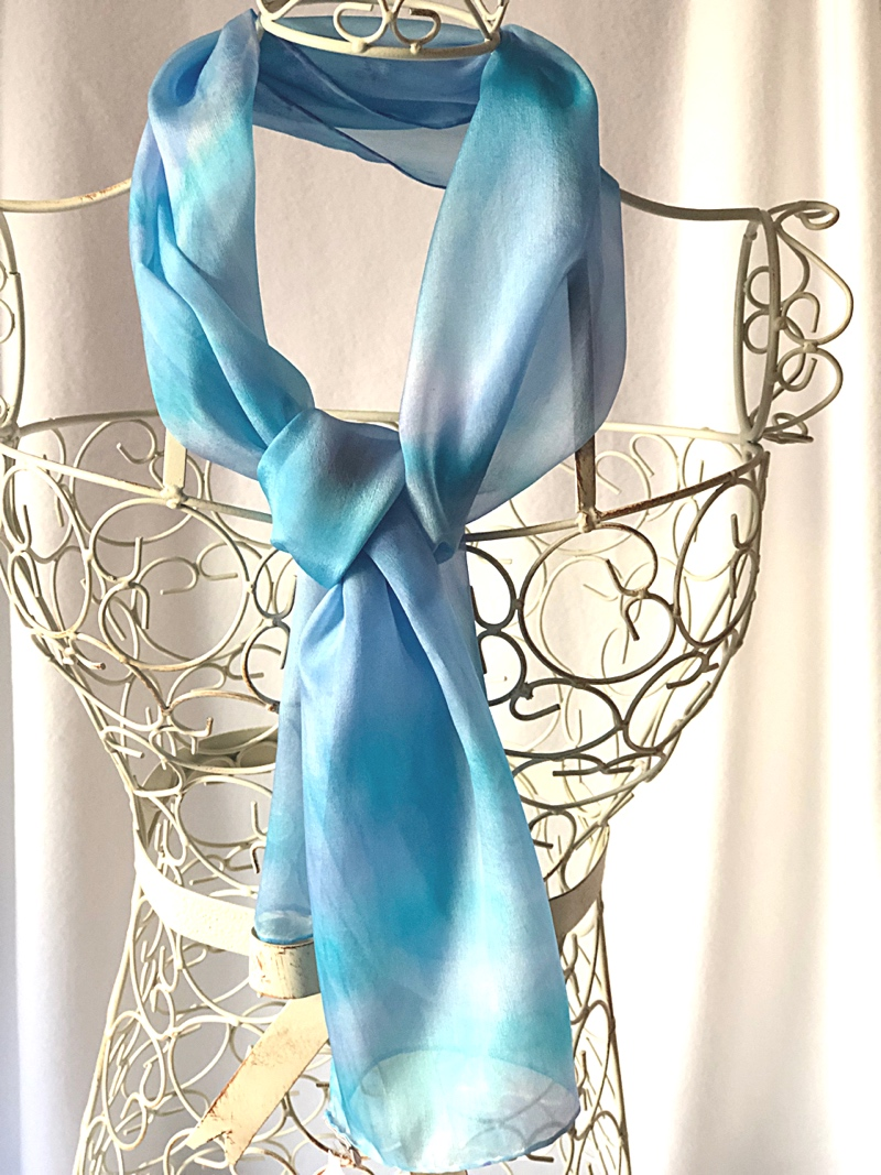 long pastel blue pale turquoise scarf