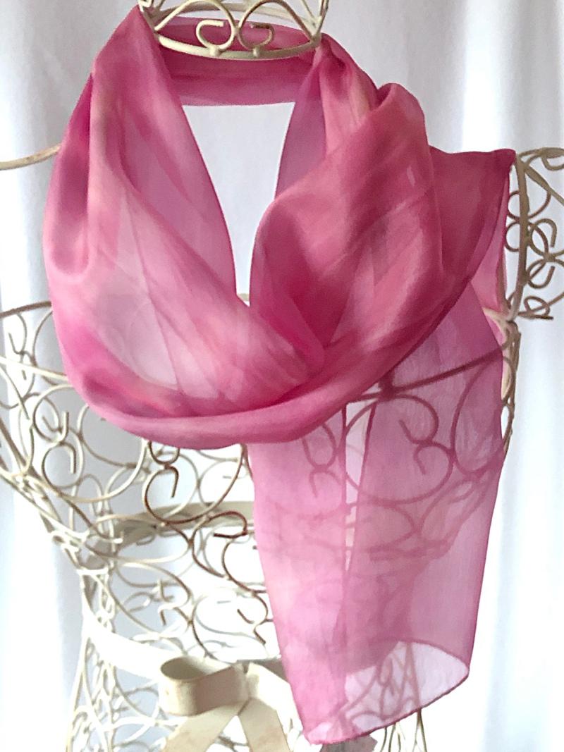 long pink floaty silk scarf