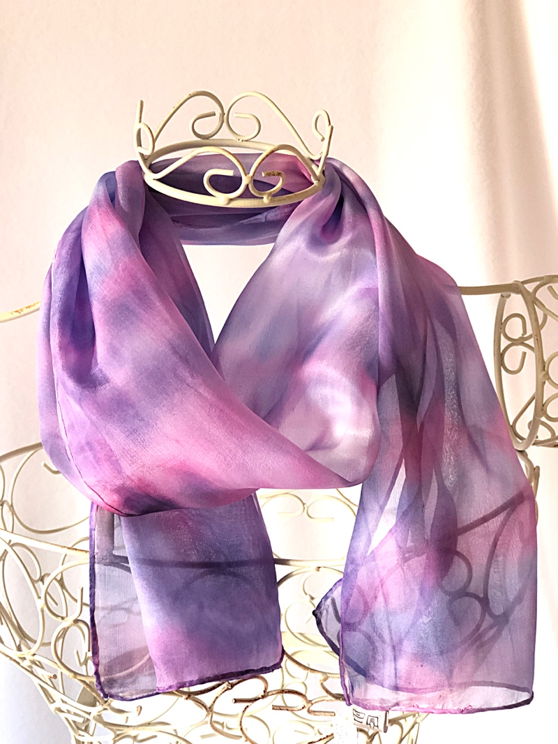 long pink navy blue floaty scarf