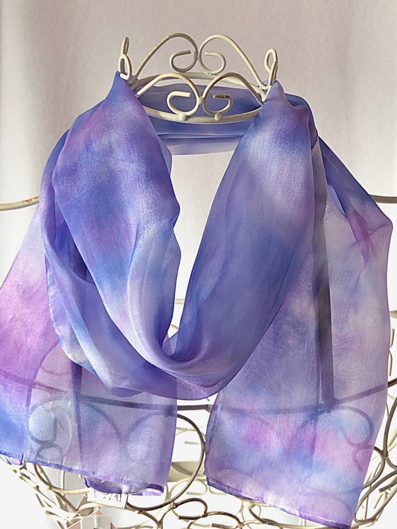 long purple blue lightweight silk scarf