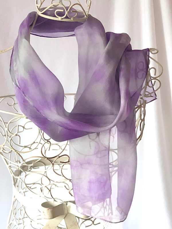 purple and grey long scarf
