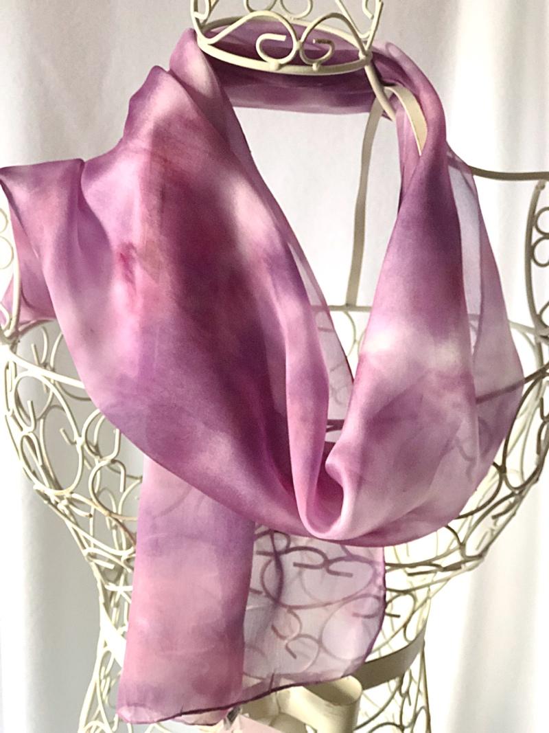 long purple wine silk scarf