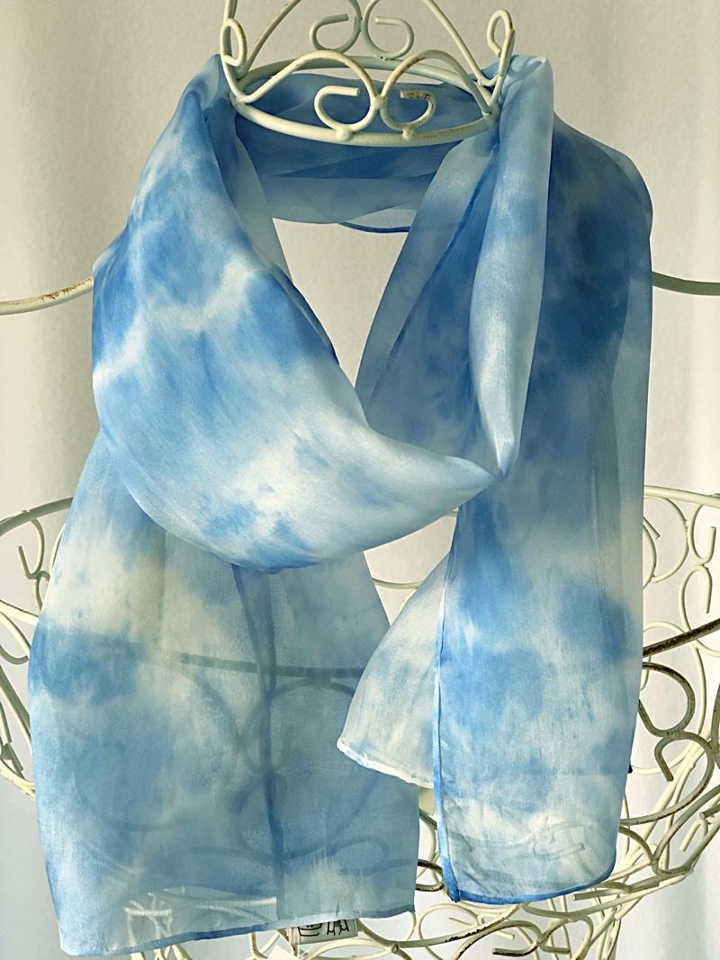 long sky blue silk scarf