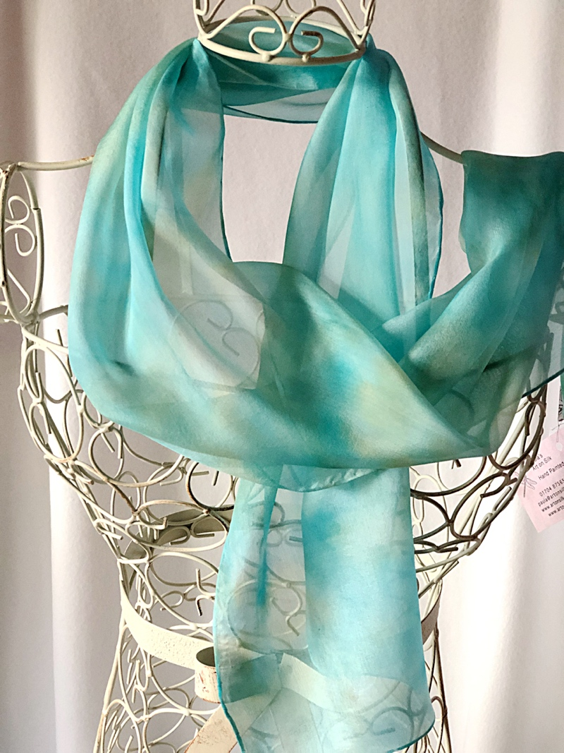 long turquoise sand silk scarf