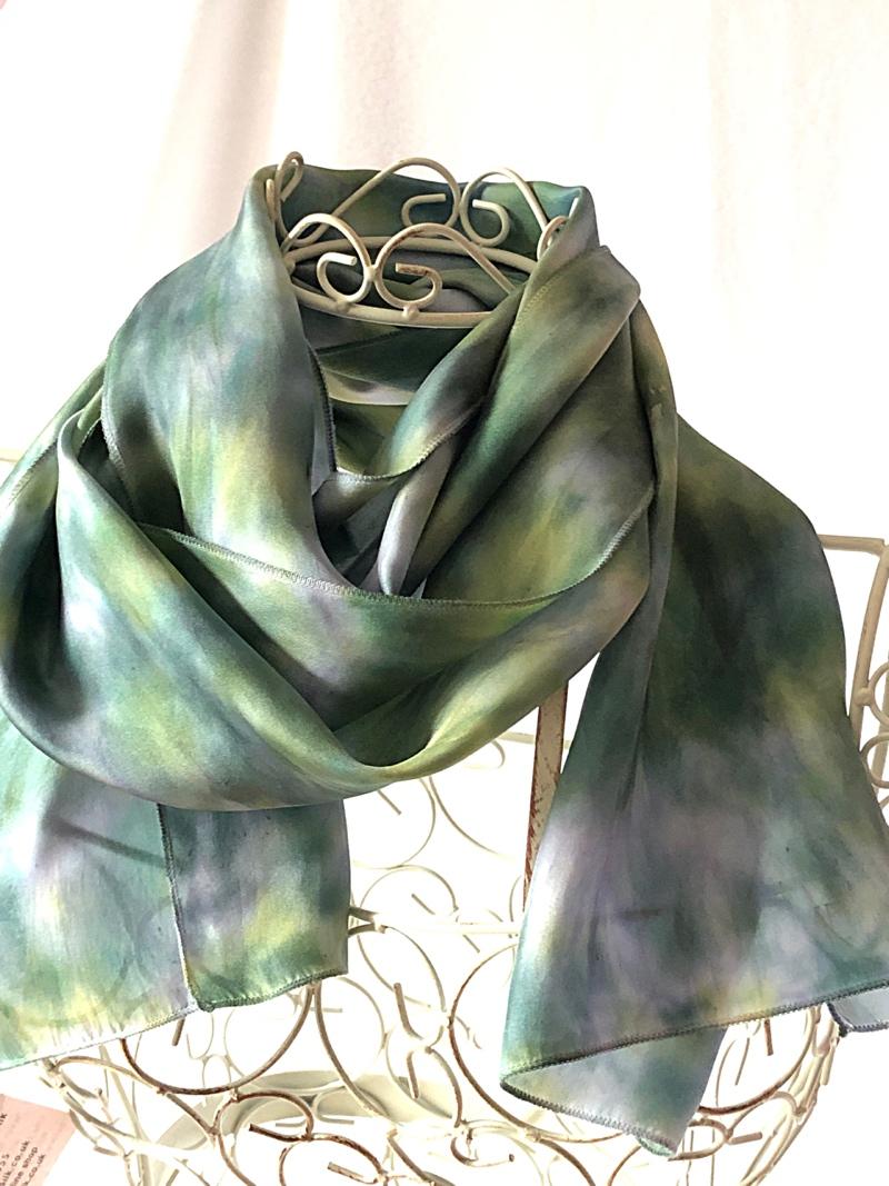 very long blue green scarf