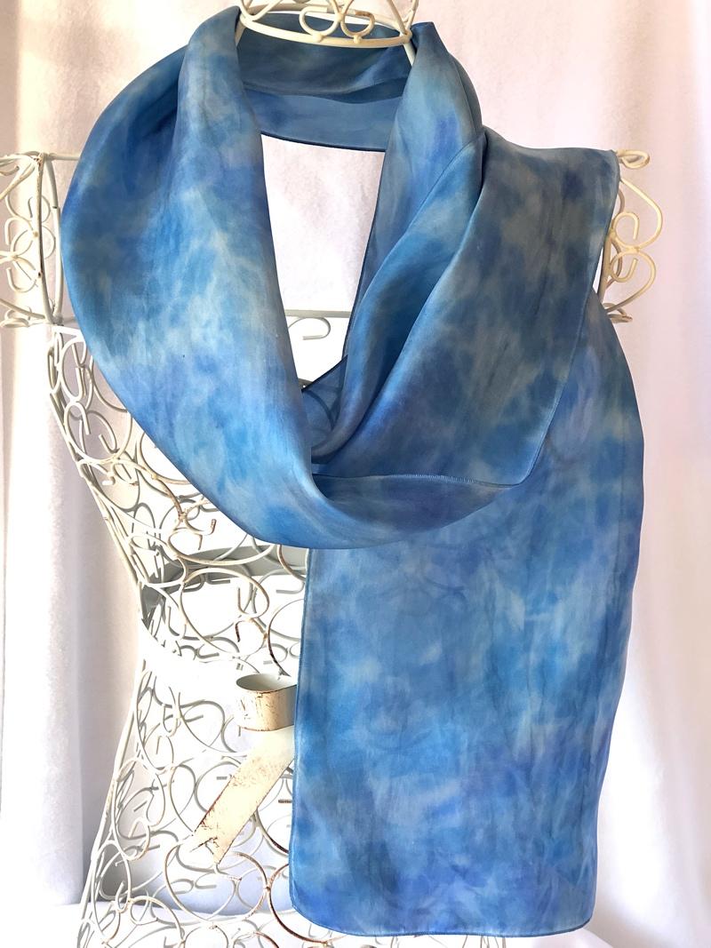 very long blue grey warm scarf