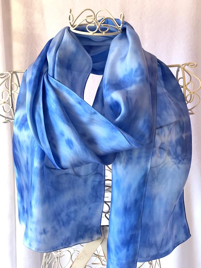 very long blue warm scarf