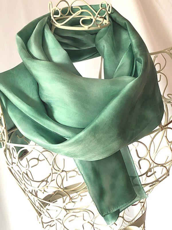 very long green scarf