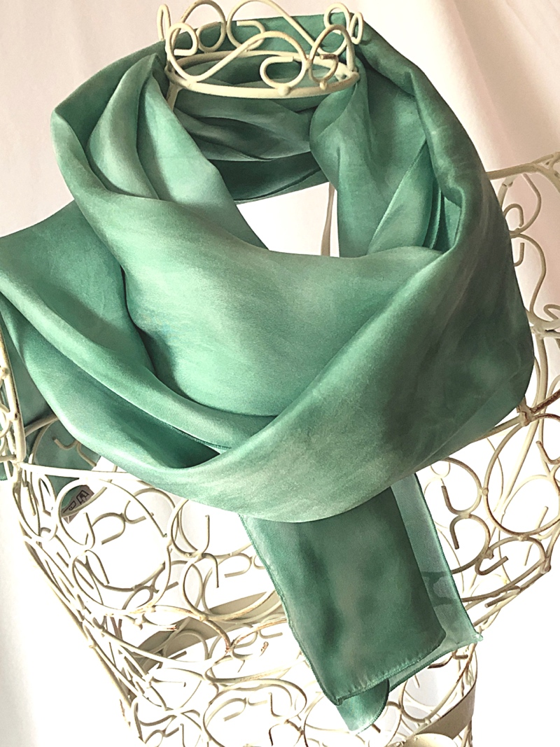 very long green scarf, warm feel