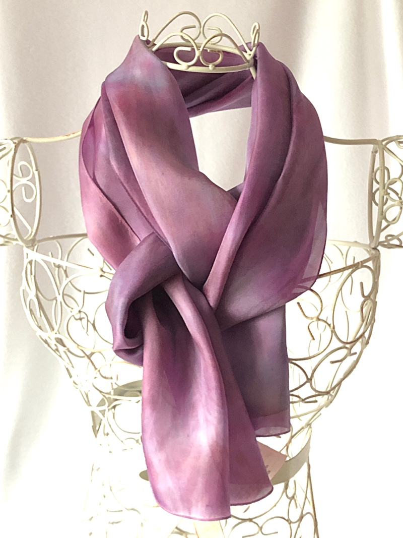 very long lilac pink blue scarf