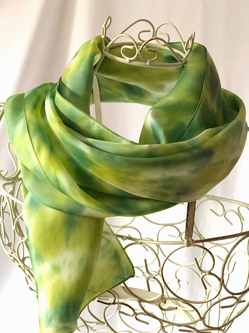 very long lime green scarf