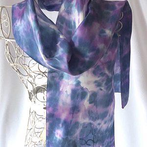 blue and purple silk scarf