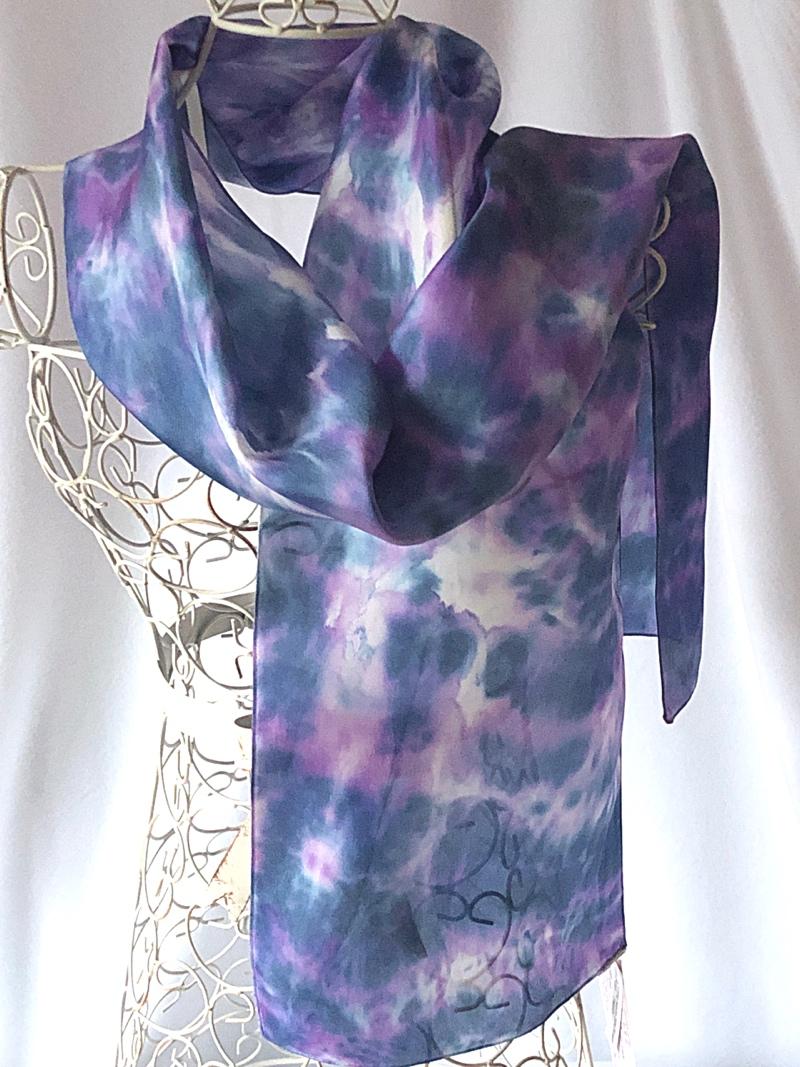 very long navy purple scarf
