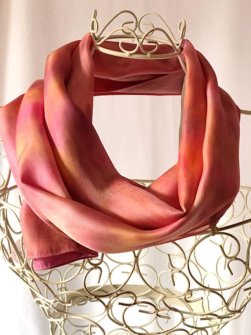 very long orange pink scarf