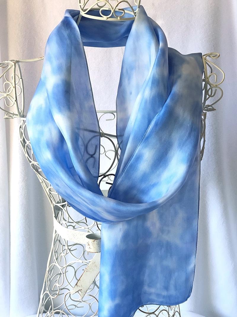 very long pale blue silk scarf