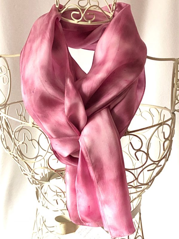 very long pink silk scarf