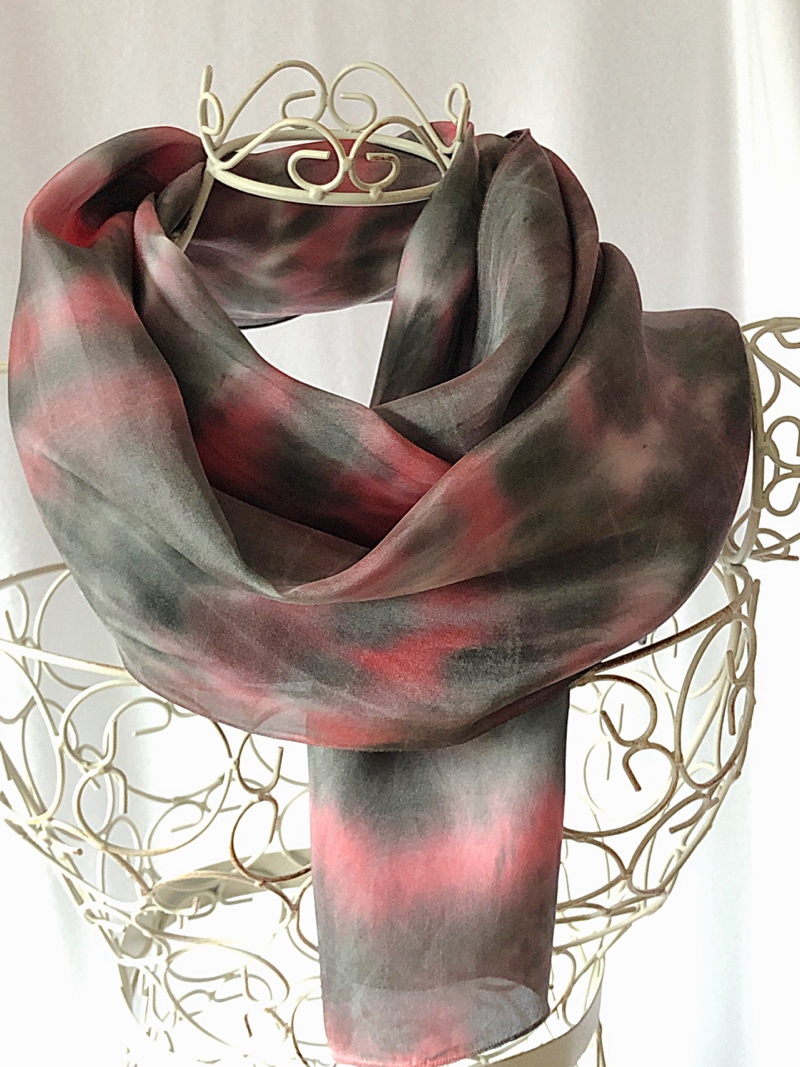 very long red black scarf
