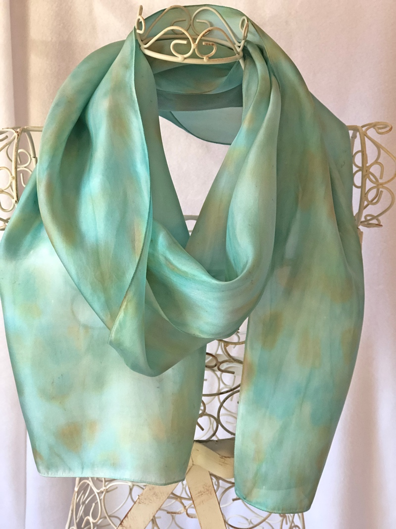 very long turquoise scarf