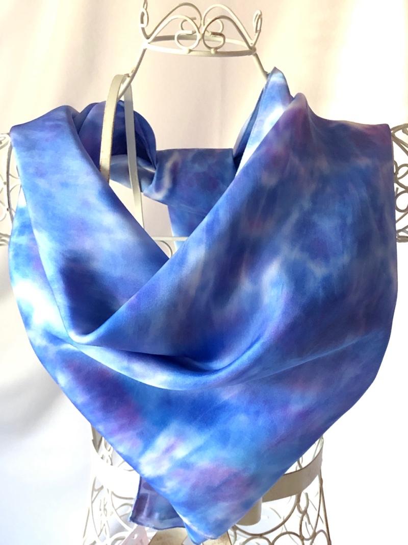 yard square warm blue scarf