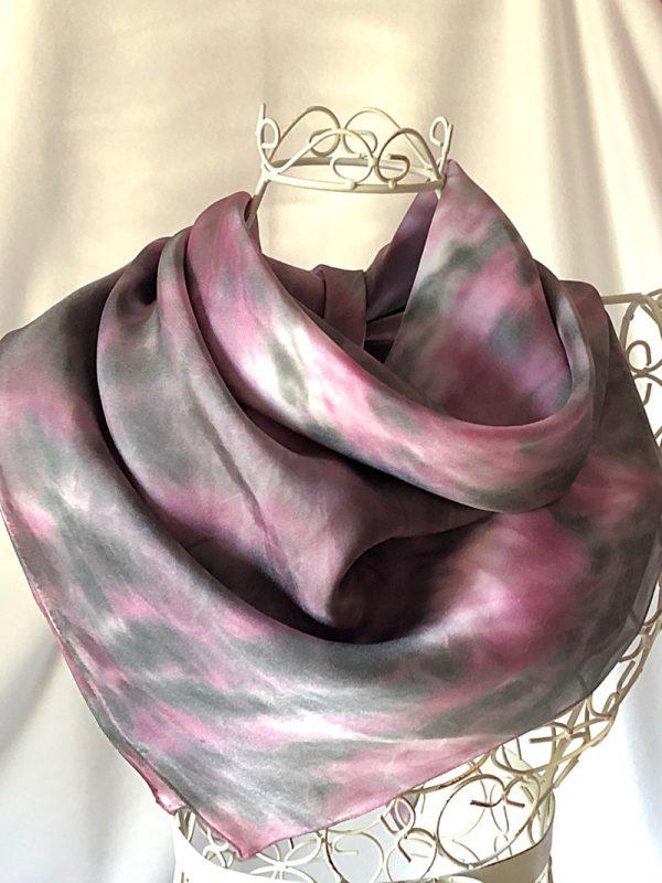 pink grey black square scarf